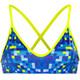Turbo Pixels Bikini Top Women Blue
